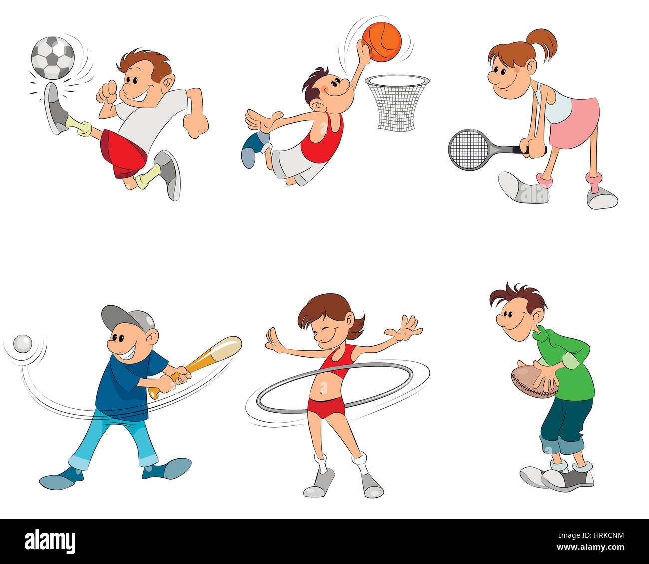Vector illustration of a six children playing - Stock Image