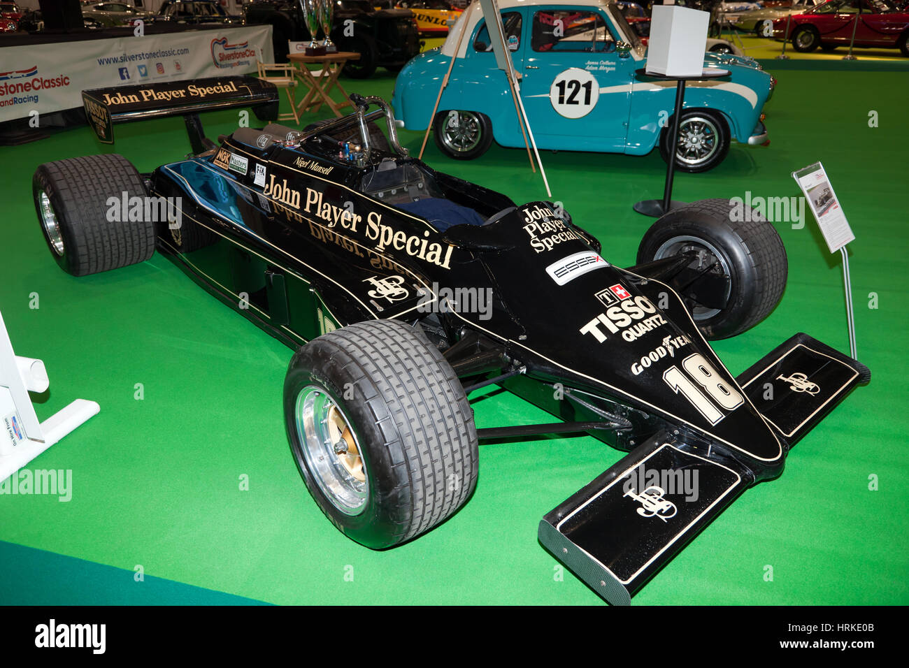 A 1981 Lotus 87 Formula One Car,  driven by Nigel Mansell,  during his first F1 Season. On display at Historic Motorsport - Stock Image