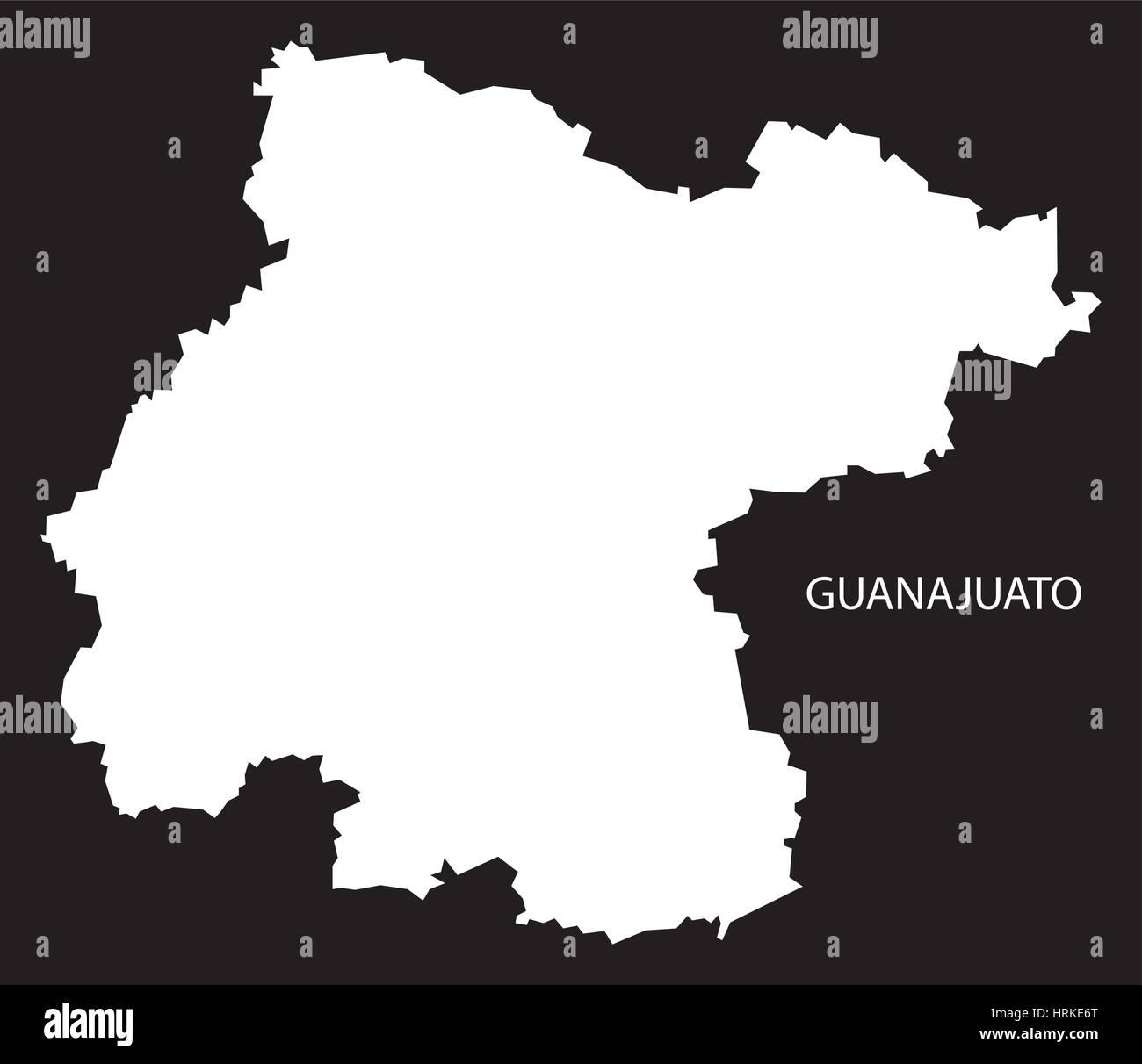 Mexico Map Guanajuato.Guanajuato Mexico Map Black Inverted Silhouette Stock Vector Art