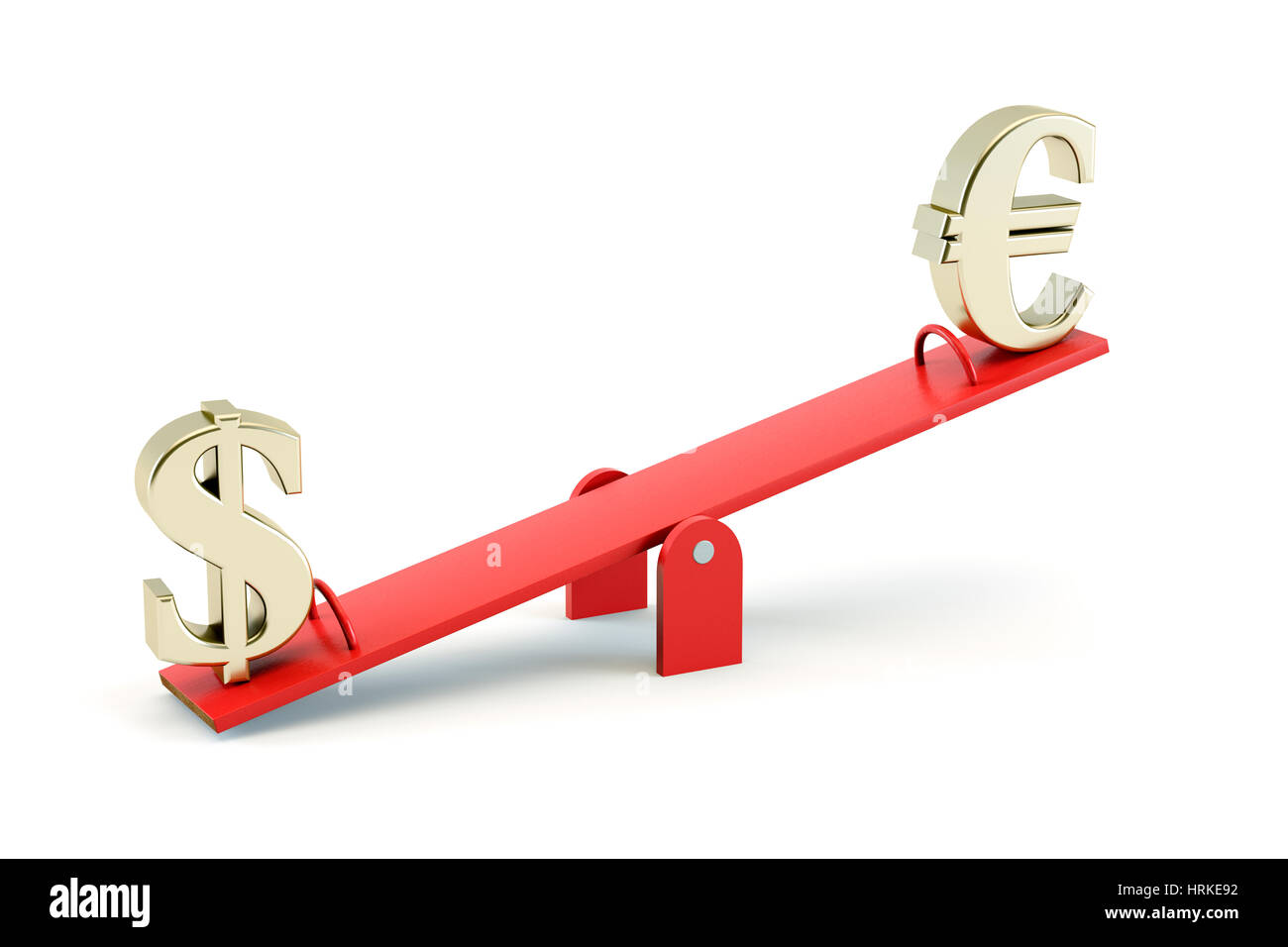 Gold US Dollar symbol and gold European Euro symbol on a Seesaw isolated on a white background - exchange rate concept - Stock Image