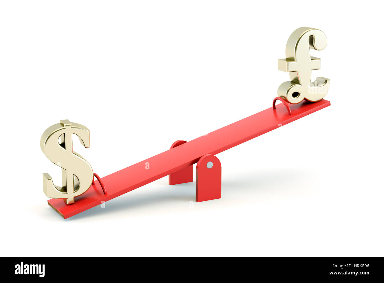 Gold US Dollar symbol and gold British GBP Pound Sterling on a Seesaw isolated on a white background - exchange - Stock Image