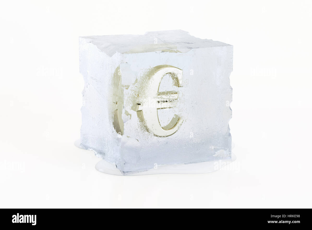 Golden Euro symbol frozen in a slowly melting ice cube - Stock Image