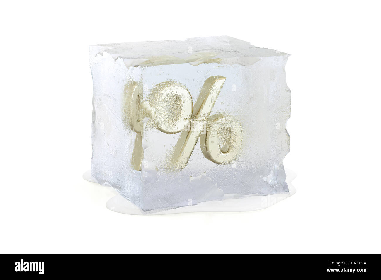 Percentage symbol frozen in a slowly melting ice cube  - interest rate freeze concept - Stock Image