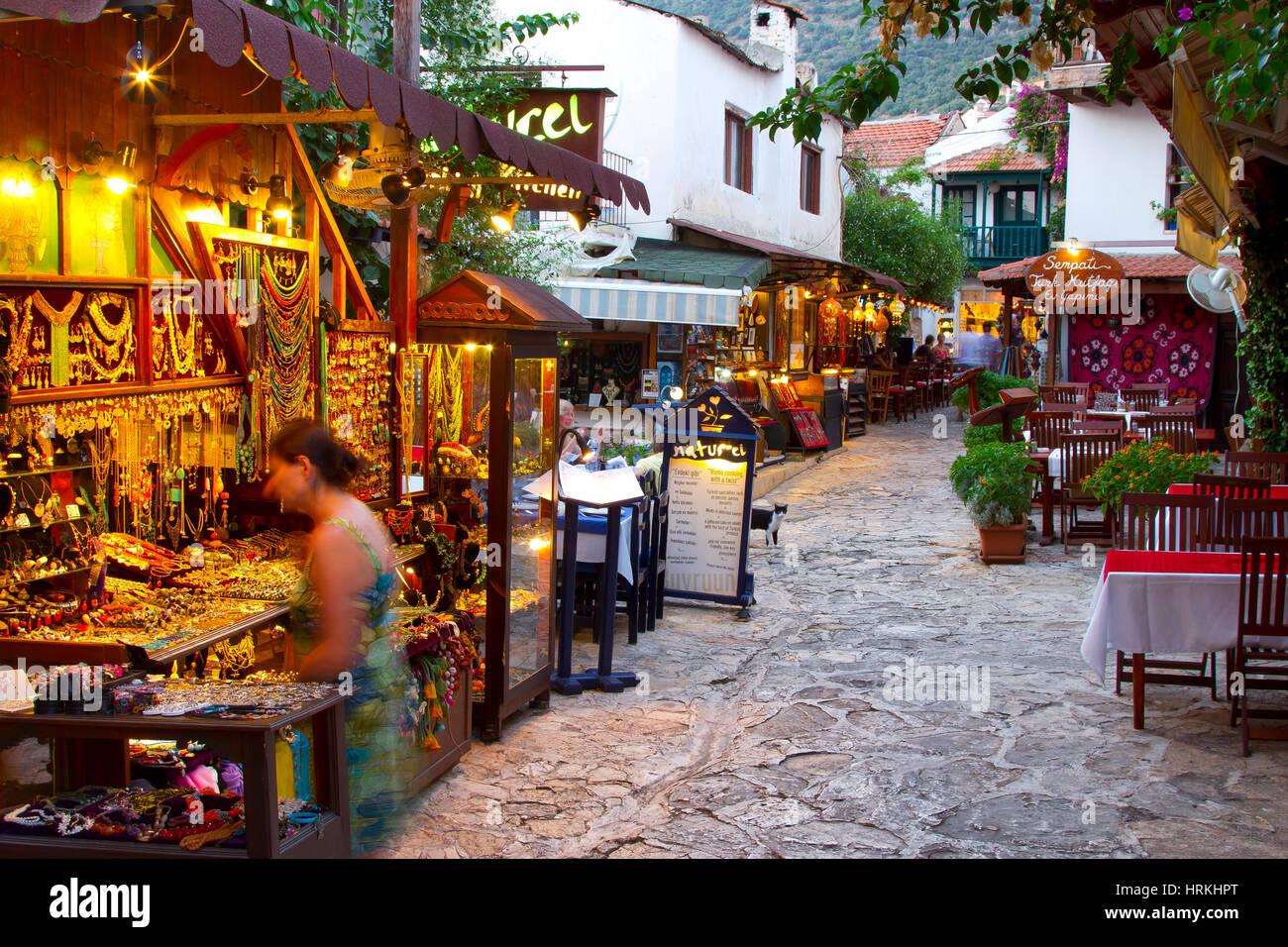 Street view. Kas. Antalya province, mediterranean coast. Turkey. - Stock Image