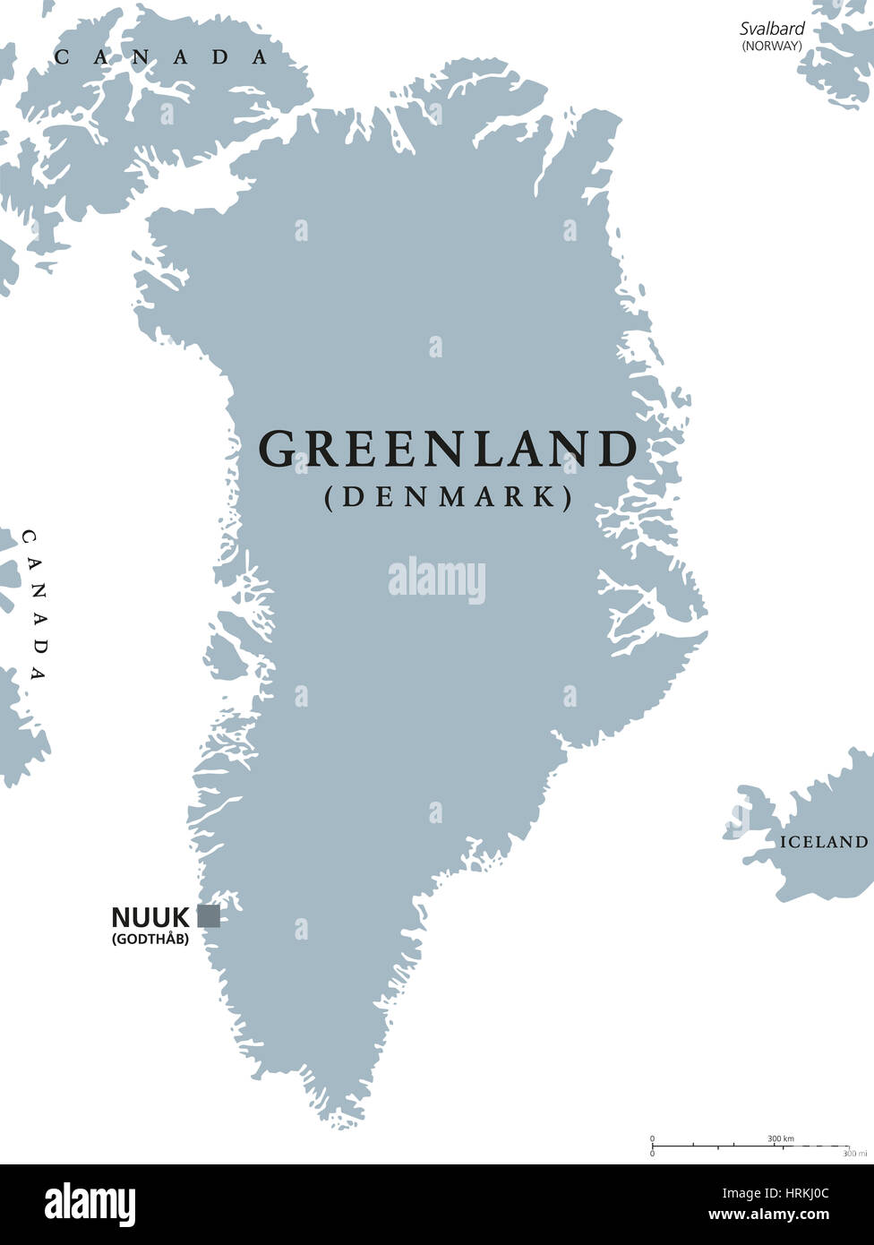 Greenland political map with capital Nuuk and neighbor countries