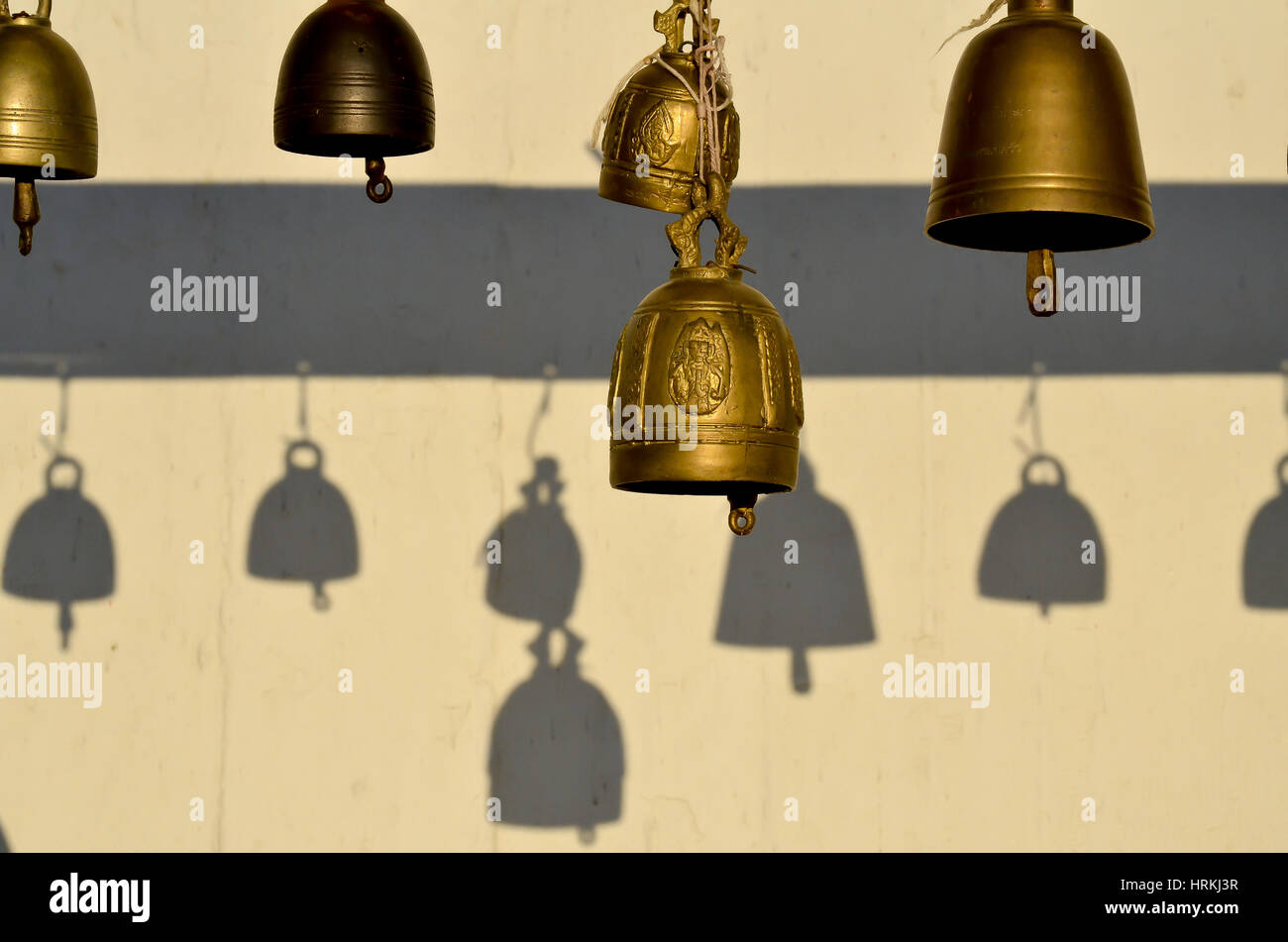 little bells in a wat in bangkok, thailand - Stock Image