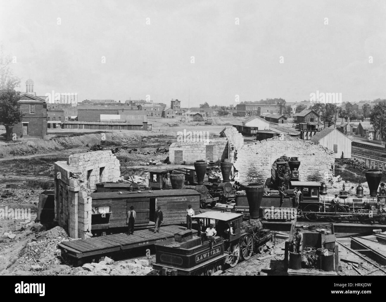 Captured Confederate Engines - Stock Image