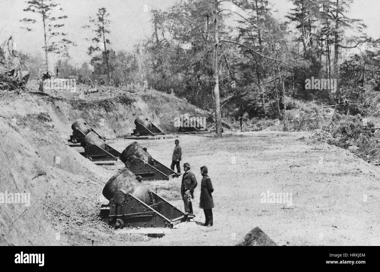 Civil War Mortar Battery - Stock Image