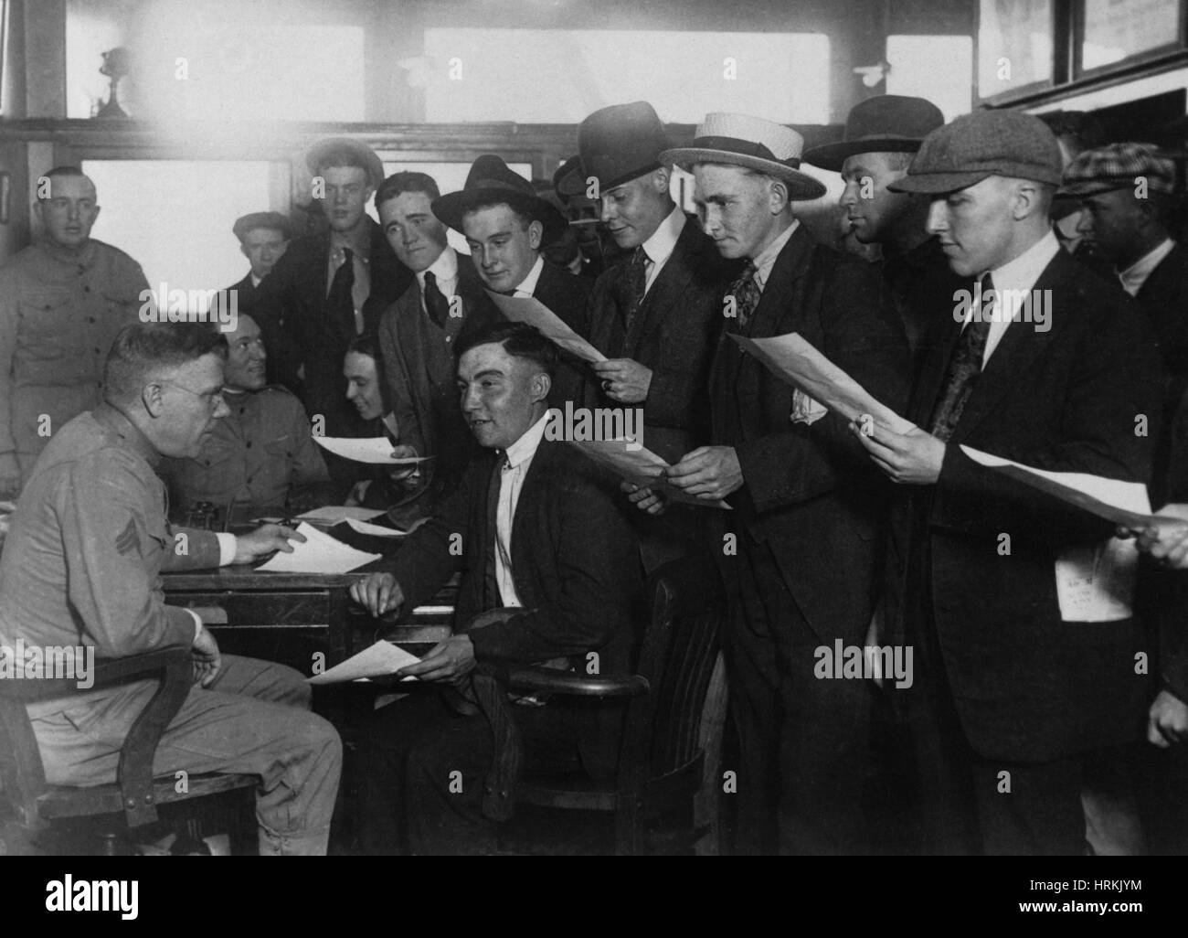 WWI, Marine Recruits, 1918 - Stock Image