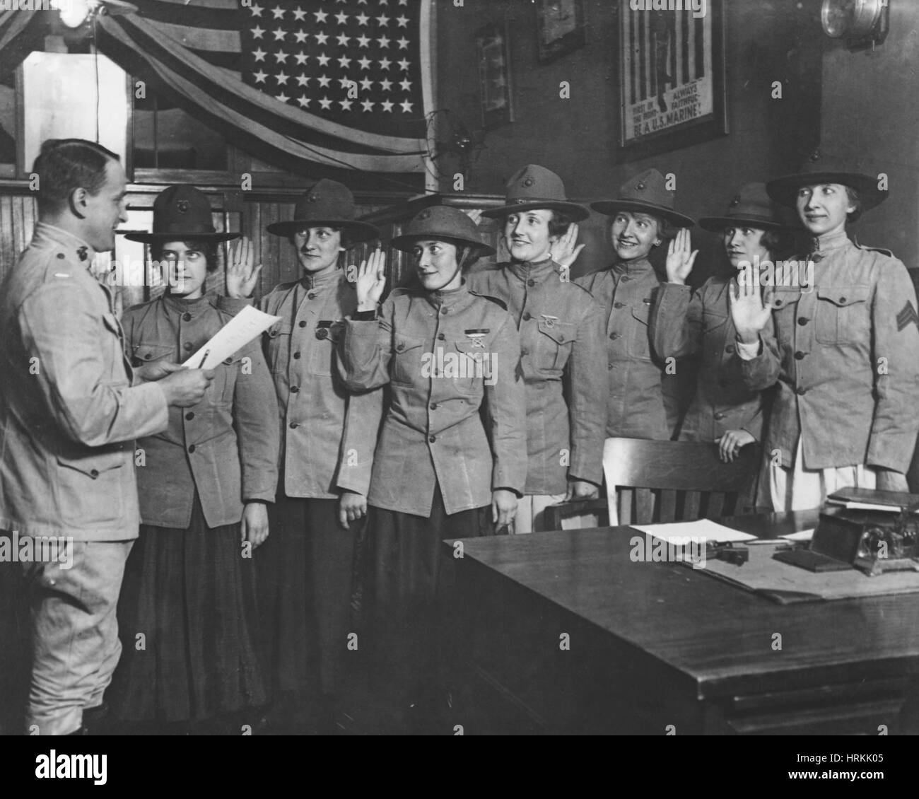 WWI, Marine Stenographers - Stock Image