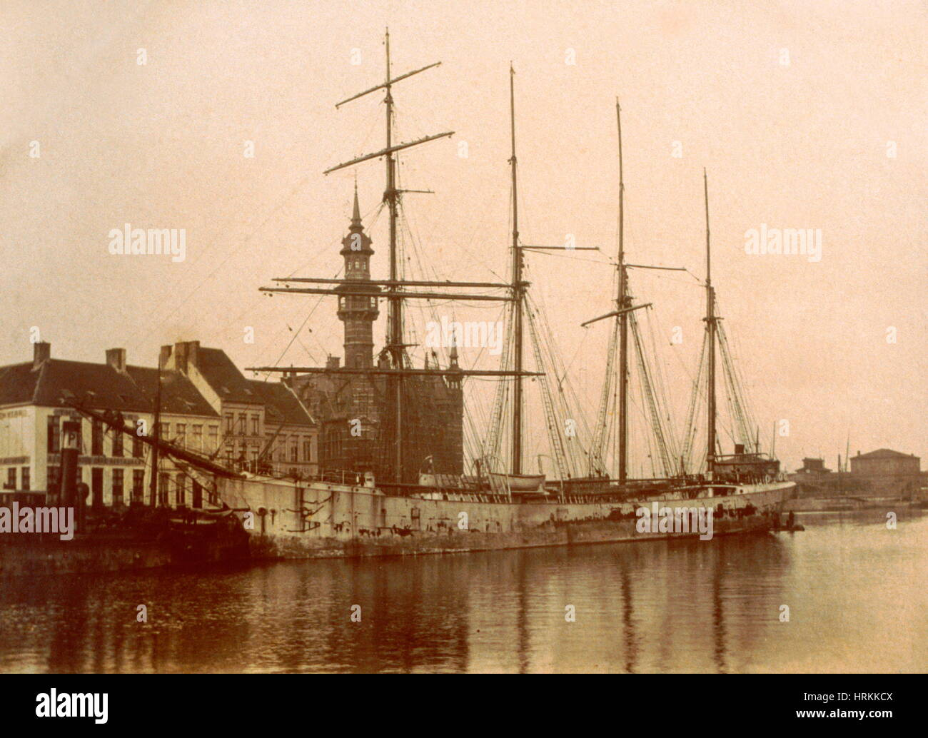 AJAXNETPHOTO.1905. OSTEND,BELGIUM. - SQUARE RIG TRADING - THE 1,034 TON (1050T) BARQUENTINE RENFIELD AWAITING CARGO. - Stock Image