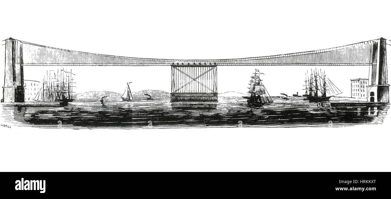 Morse Suspension Bridge Plan, 1869 - Stock Image