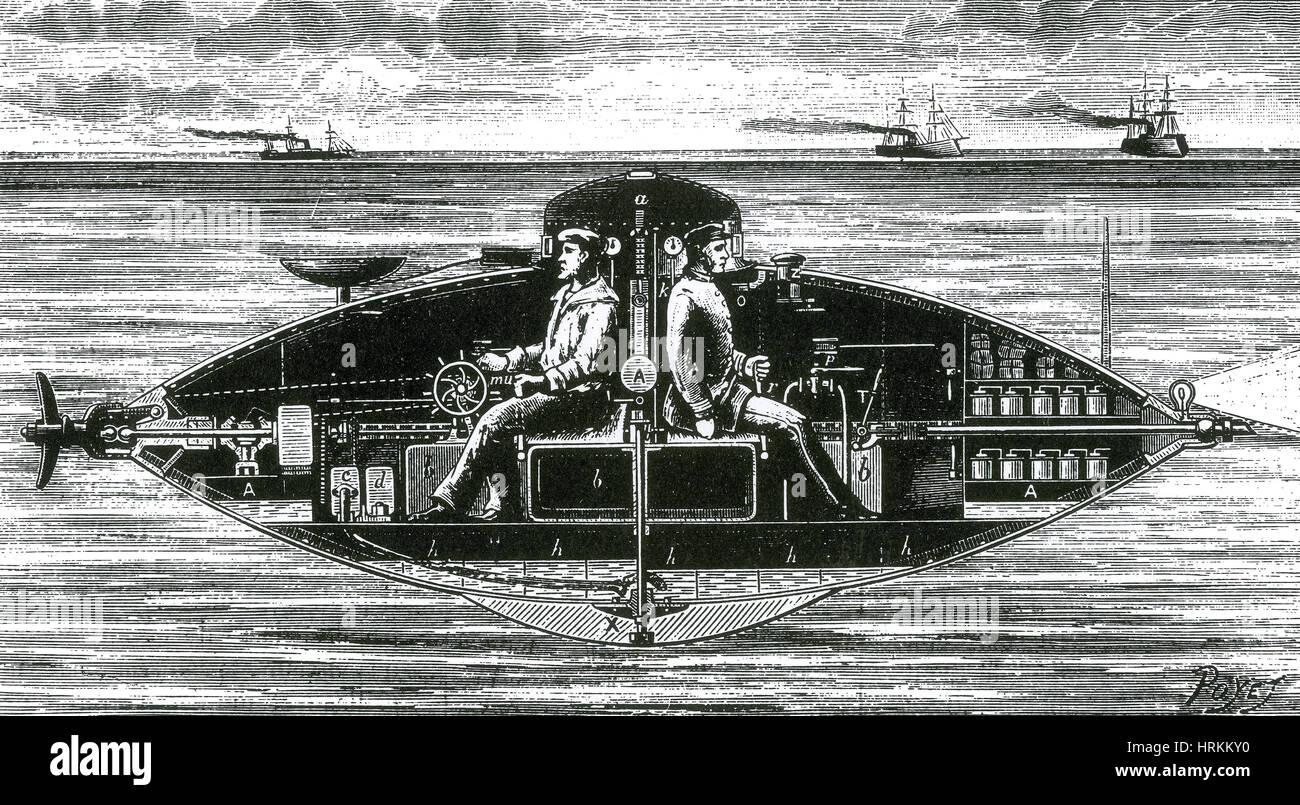 Goubet's Submarine Vessel, 1886 - Stock Image
