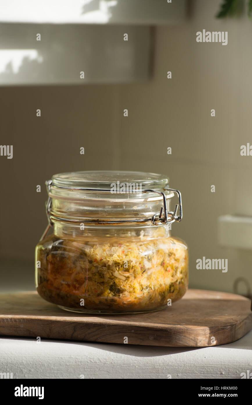 Organic kitchen. Homemade Sauerkraut, - Stock Image