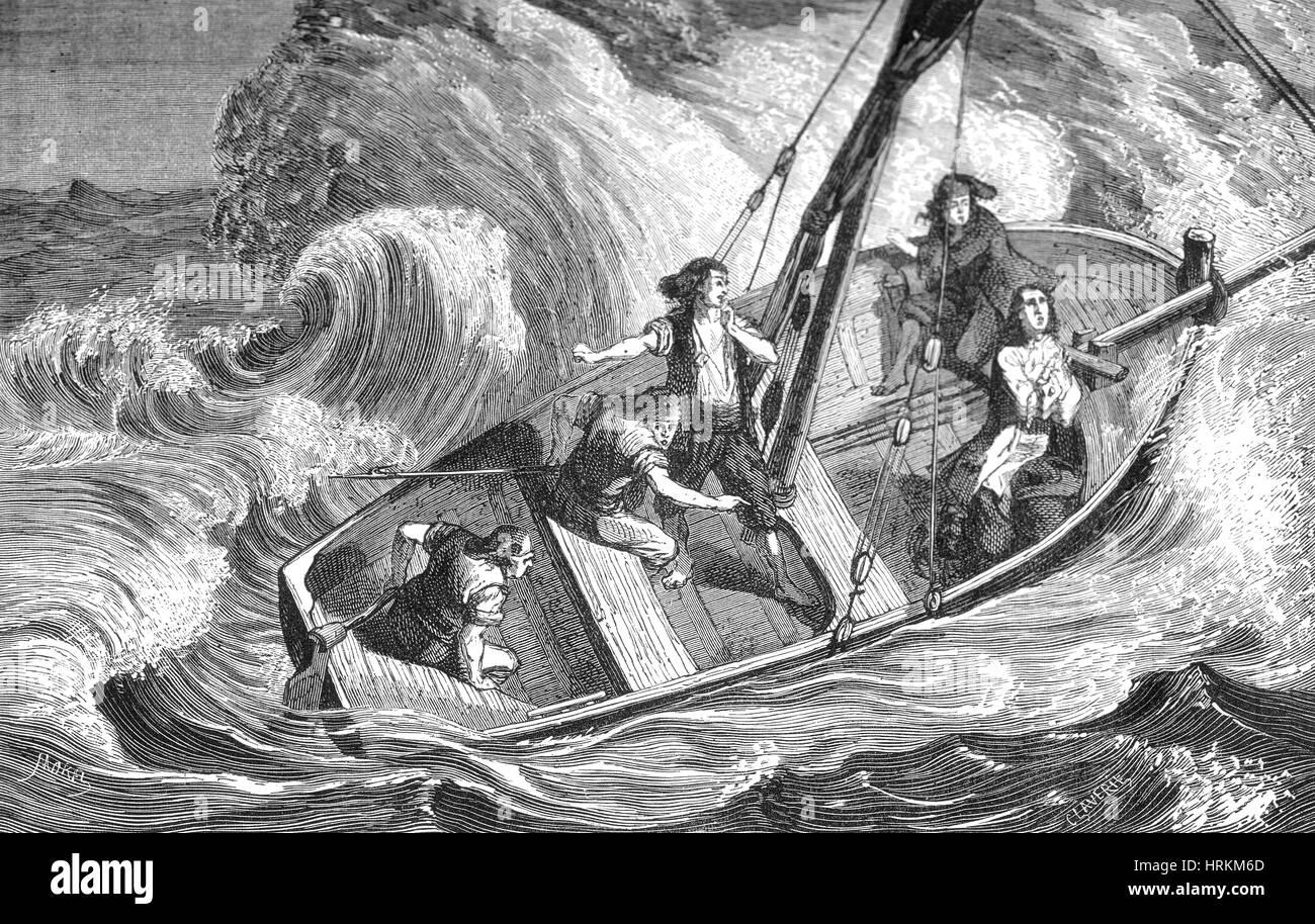 Leibniz and Adriatic Boatmen During Storm, 1689 - Stock Image