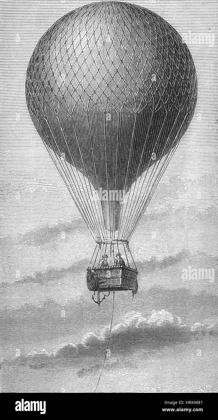 Hydrogen Balloon, 19th Century - Stock Image