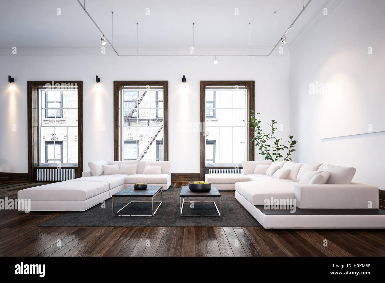 Modern minimalist designer living room interior with stylish large sofas and tables on a wooden parquet floor in front of bright windows 3d rendering