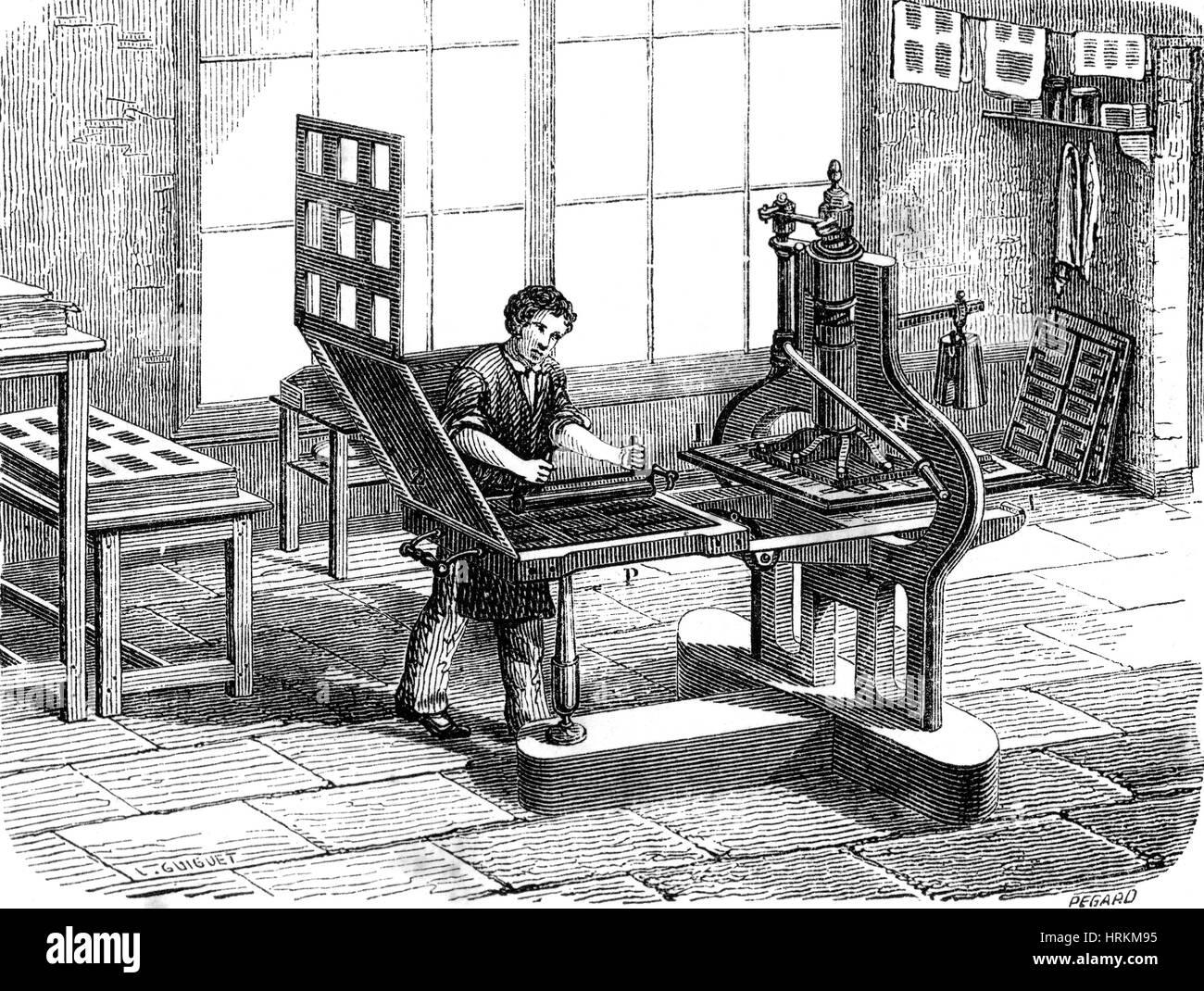 stanhope press first iron printing press 1806 stock photo