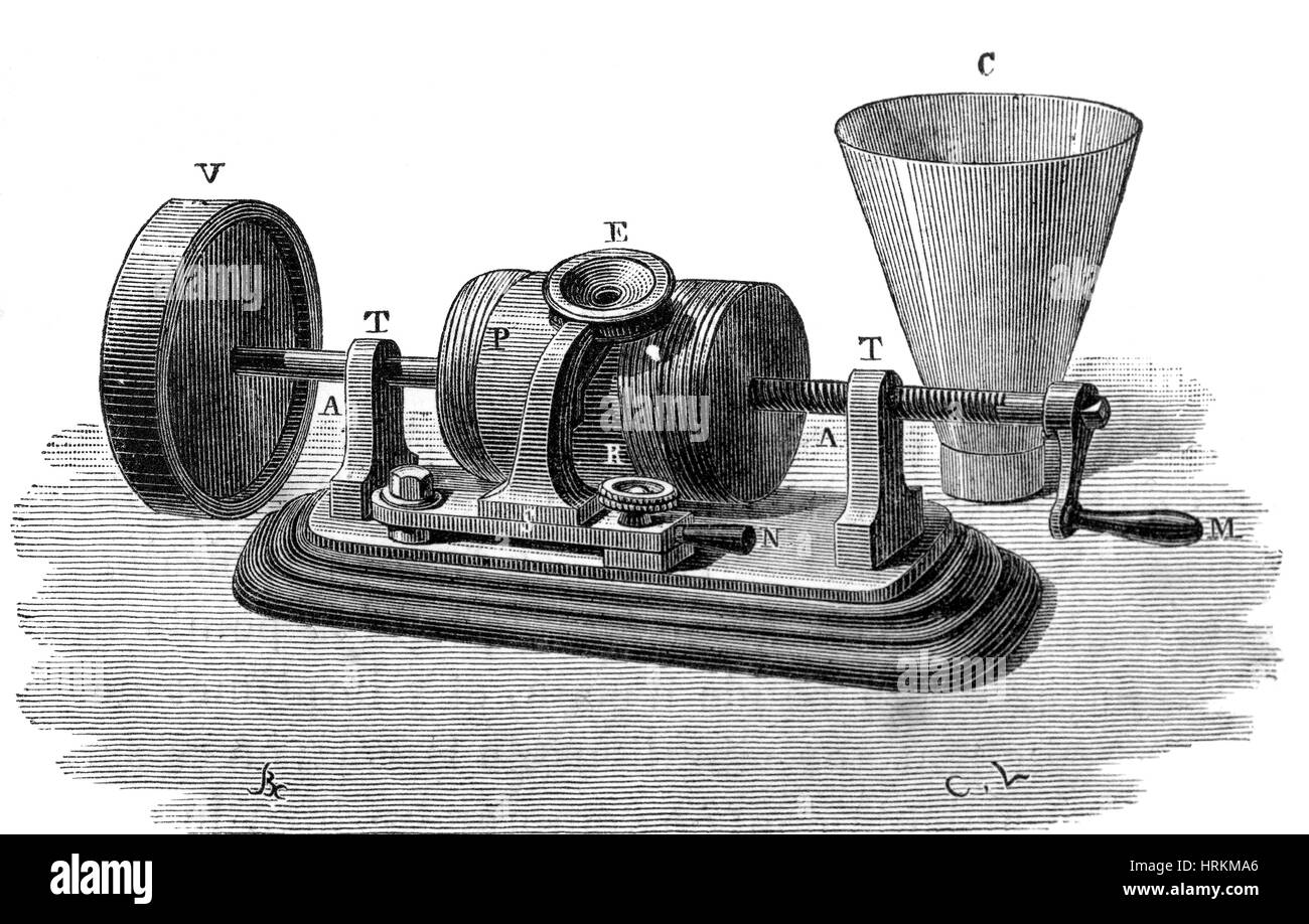 Edison Phonograph, 1877 Stock Photo