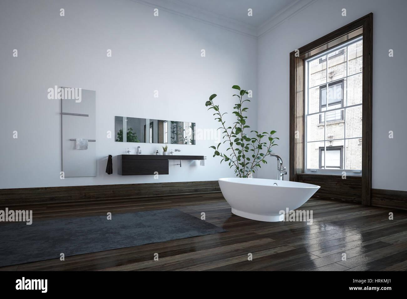 Spacious Bathroom In Minimalist Interior Design With Modern Freestanding Bath White Walls Dark Wooden Floor And Huge Window 3d Rendering