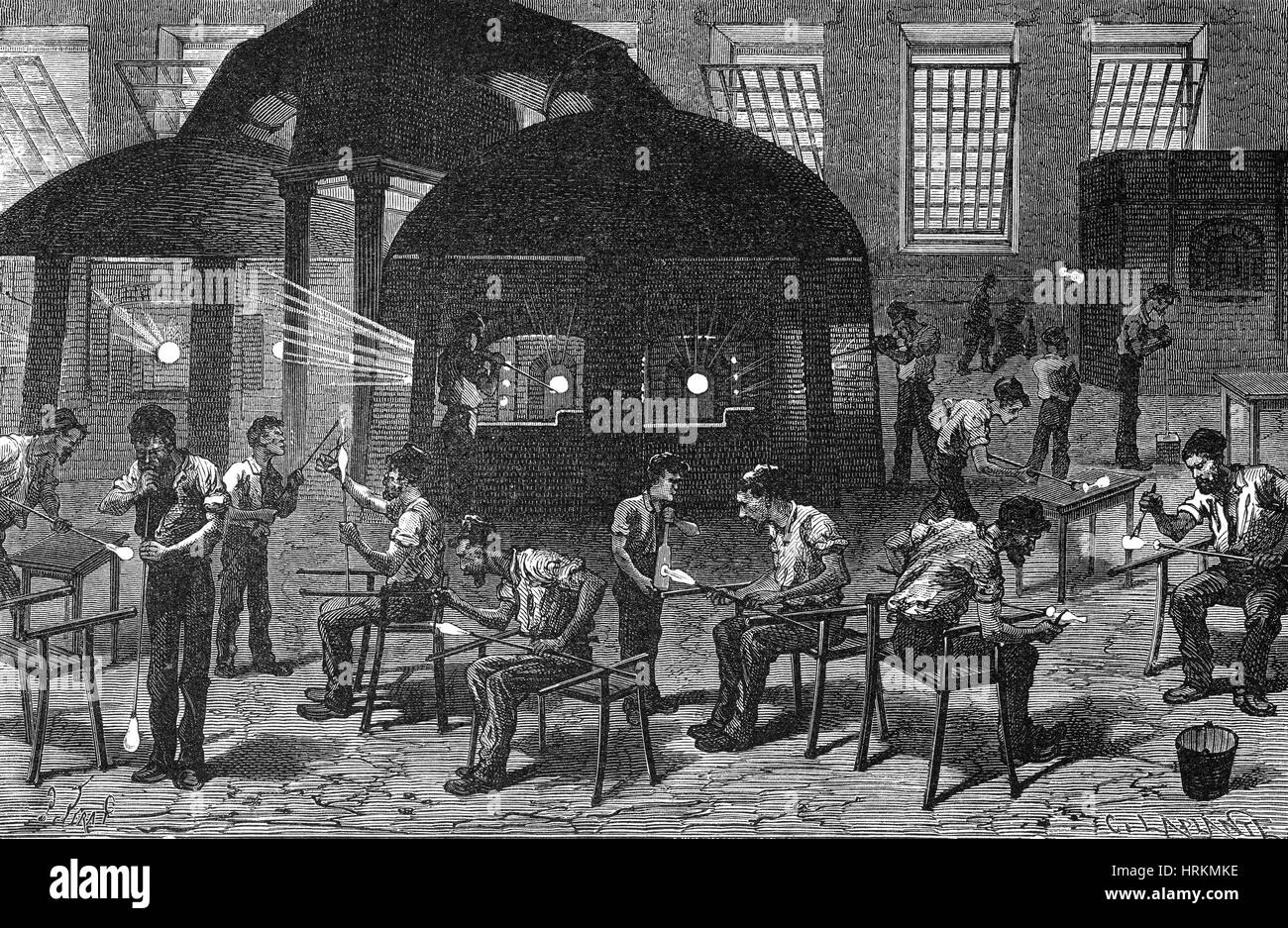 Glassblowing Factory, 19th Century - Stock Image