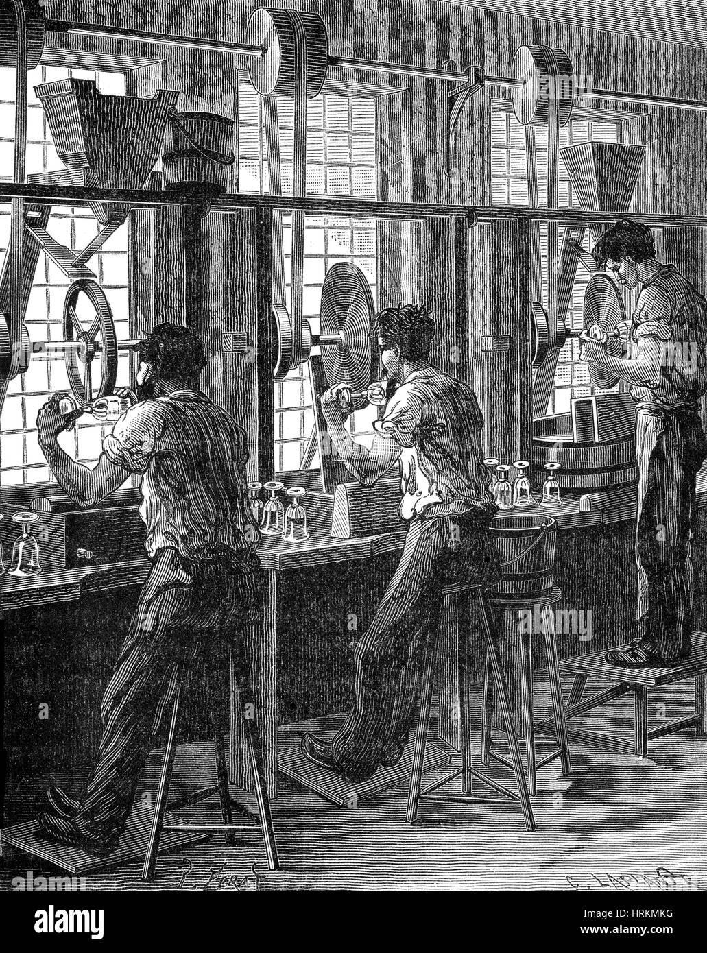 Polishing of Crystal Glass, 19th Century - Stock Image