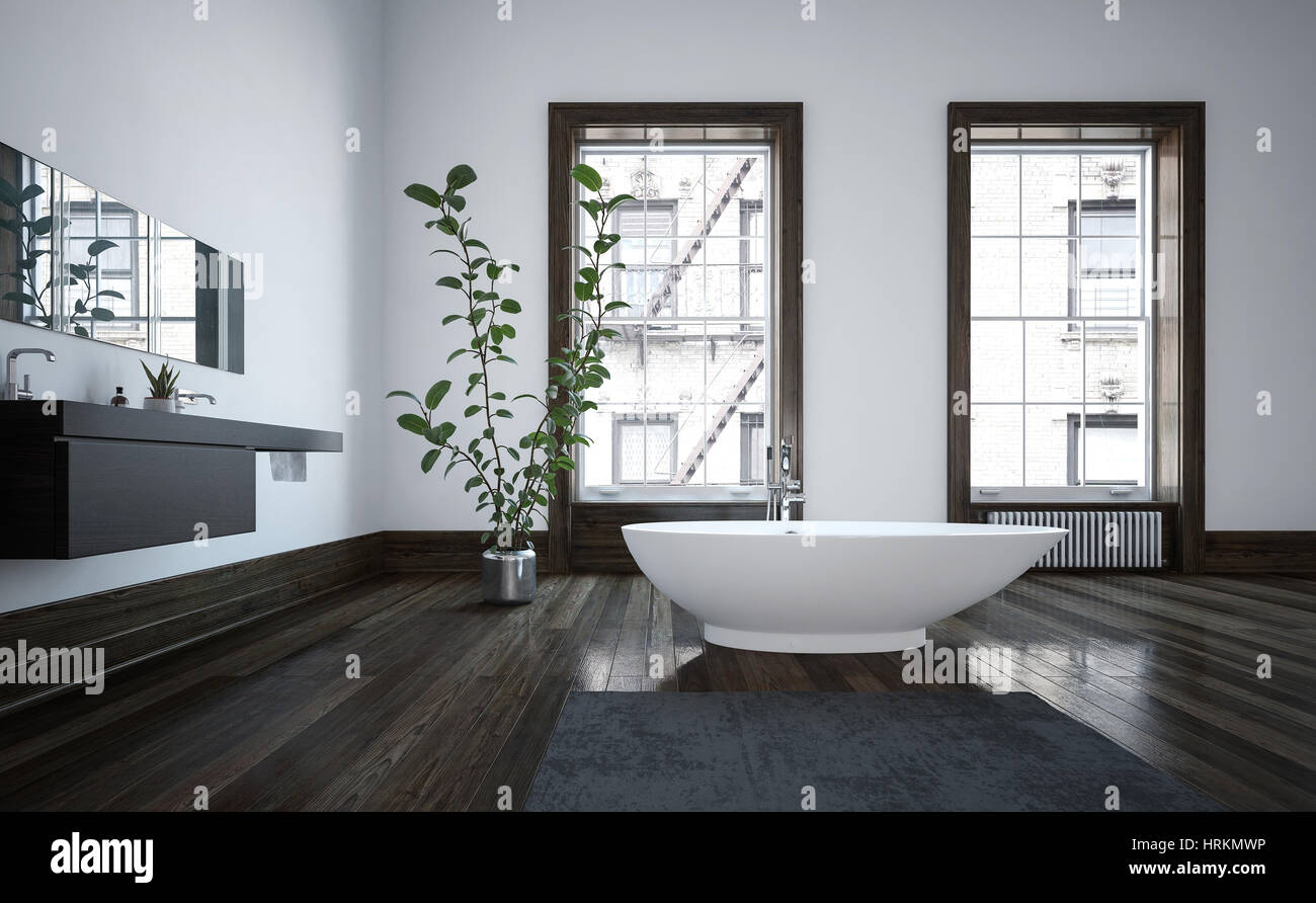 spacious all white bathroom. Elegant Spacious Modern Bathroom Interior With Freestanding White Boat-shaped Bathtub On A Dark Wood Floor, Wall-mounted Vanities And Two Bright Windo All M