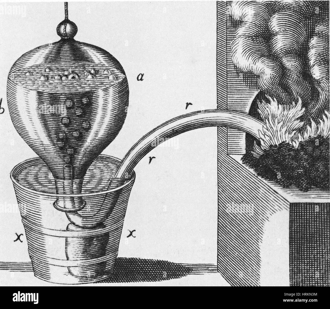 Stephen Hales's Pneumatic Trough, 1727 - Stock Image