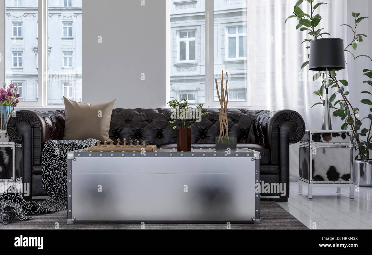 Chest Style Coffee Table In Front Of Chesterfield Couch Backed By High  Bright Windows Overlooking City Buildings , Low Angle View. 3d Rendering.
