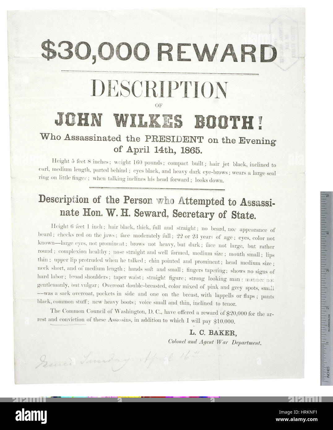 Reward Poster for John Wilkes Booth - Stock Image