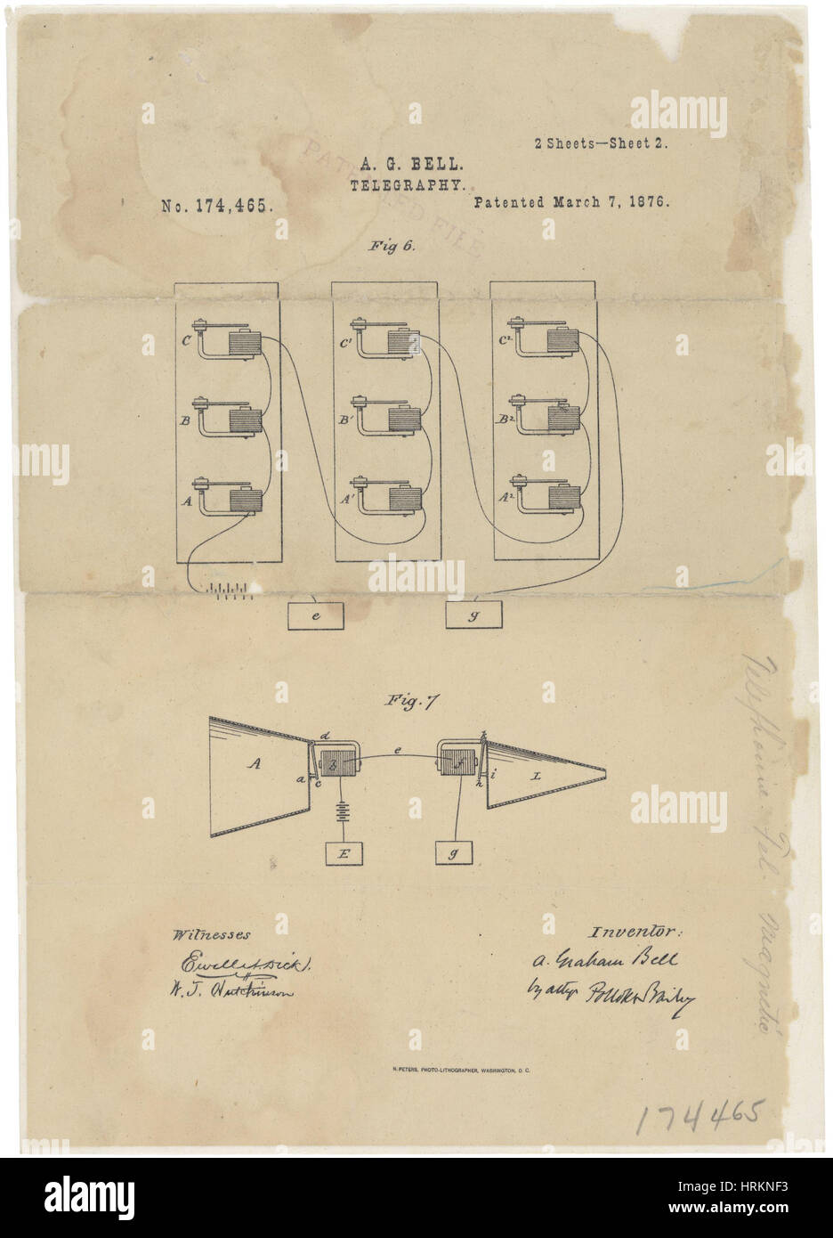 Invention Telephone Stock Photos Images Schematic Bells Patent 1876 Image