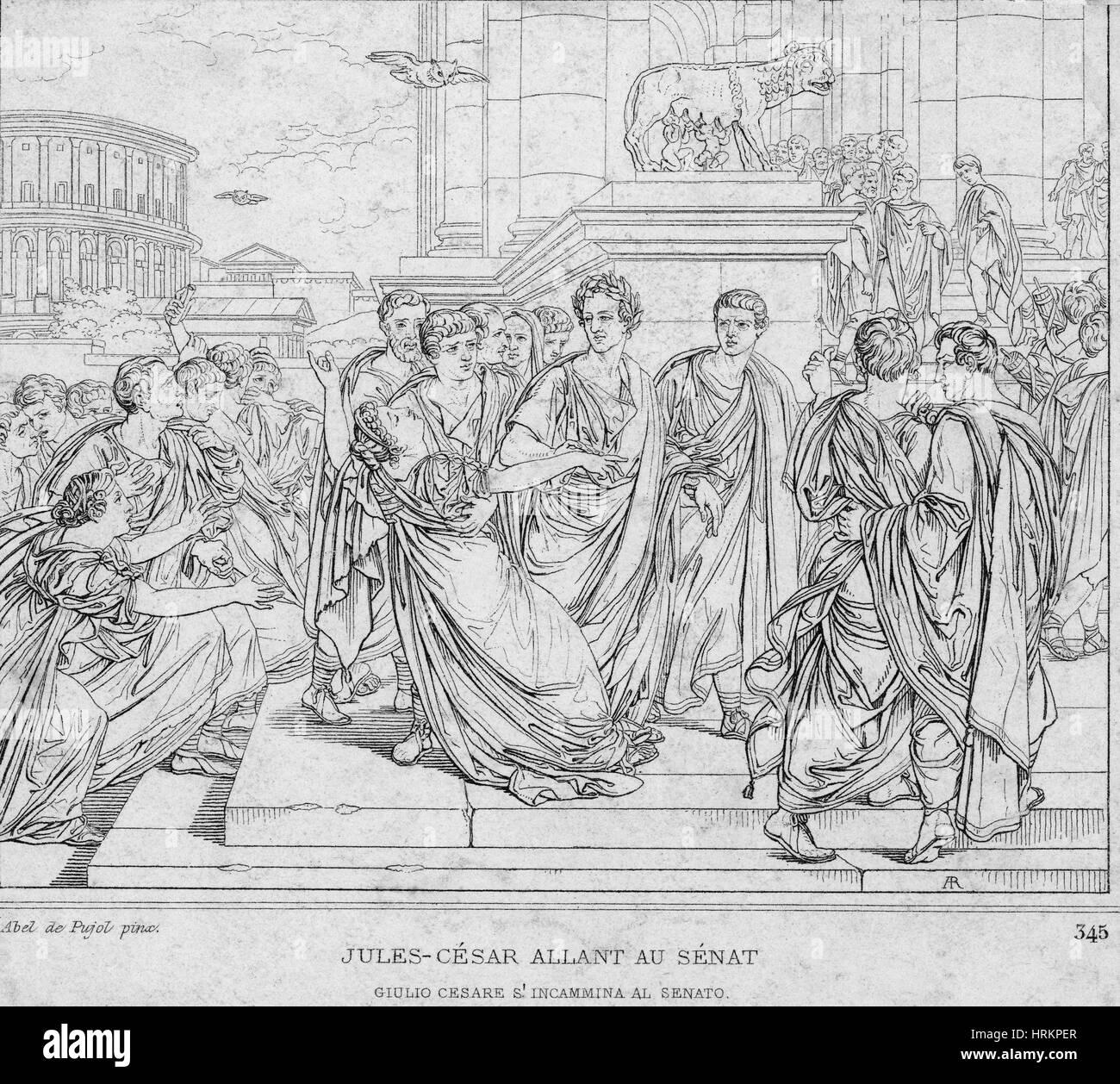 Assassination of Julius Caesar, 44 BC - Stock Image