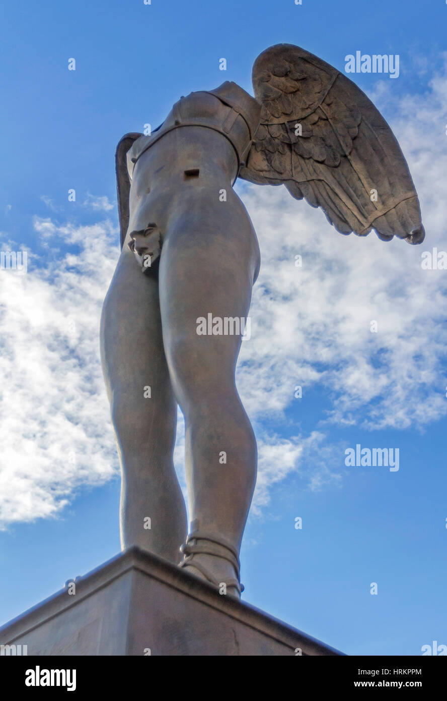 A Sculpture on display in Pompeii, Italy by Igor Mitoraj. - Stock Image