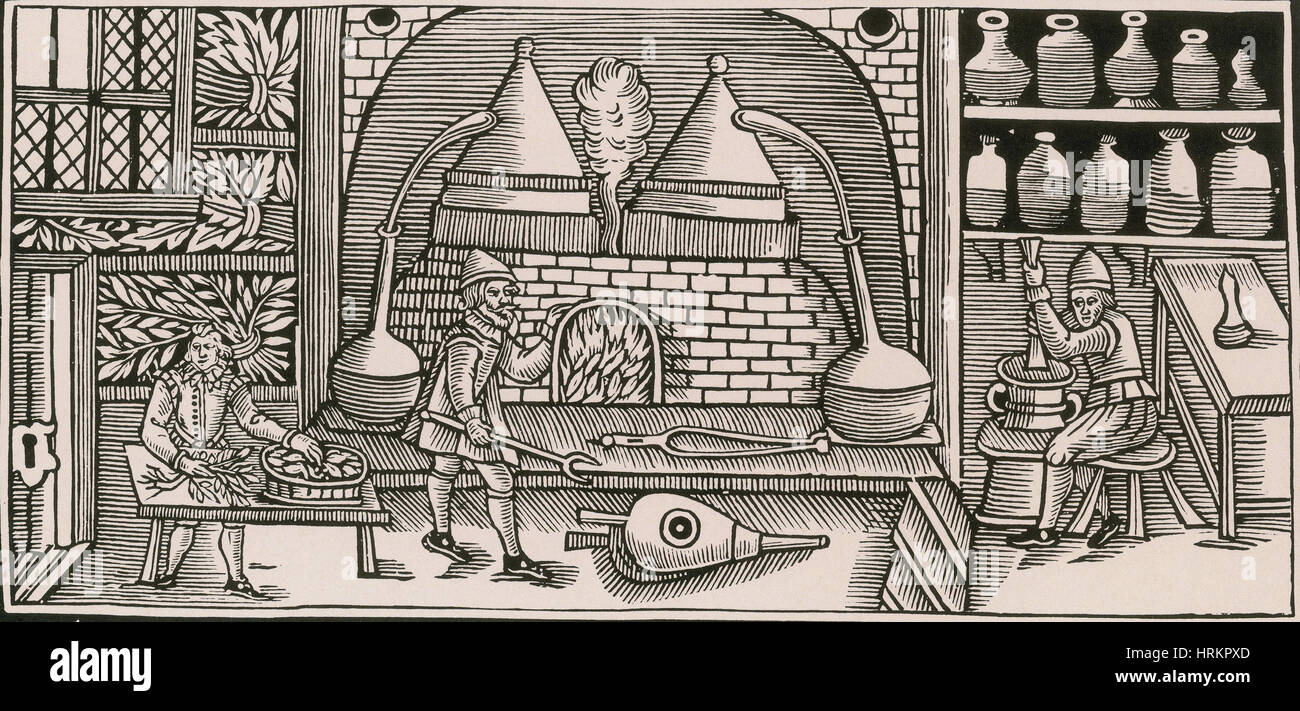 Distillation, Middle Ages - Stock Image