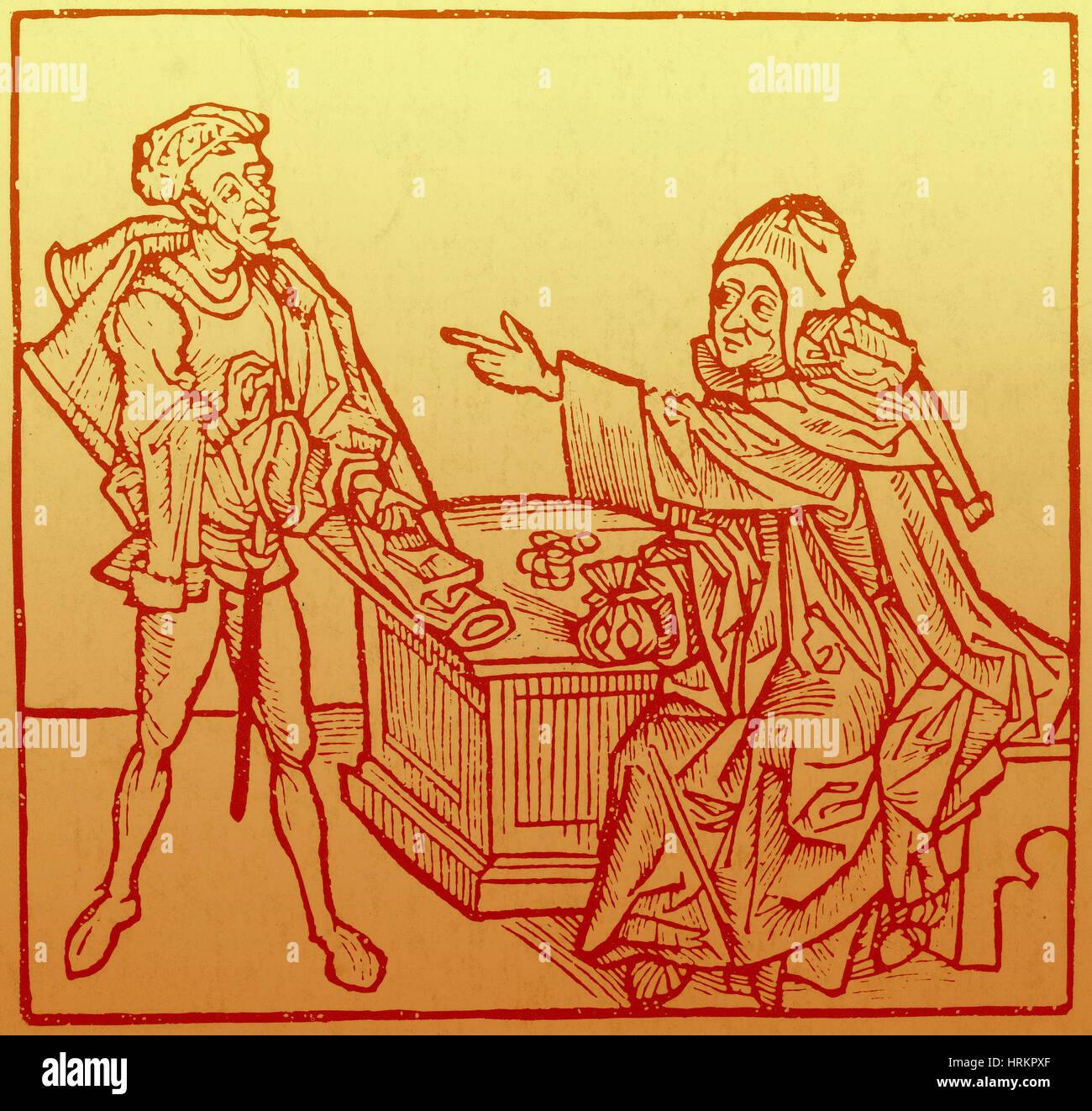 Banker, 15th Century - Stock Image