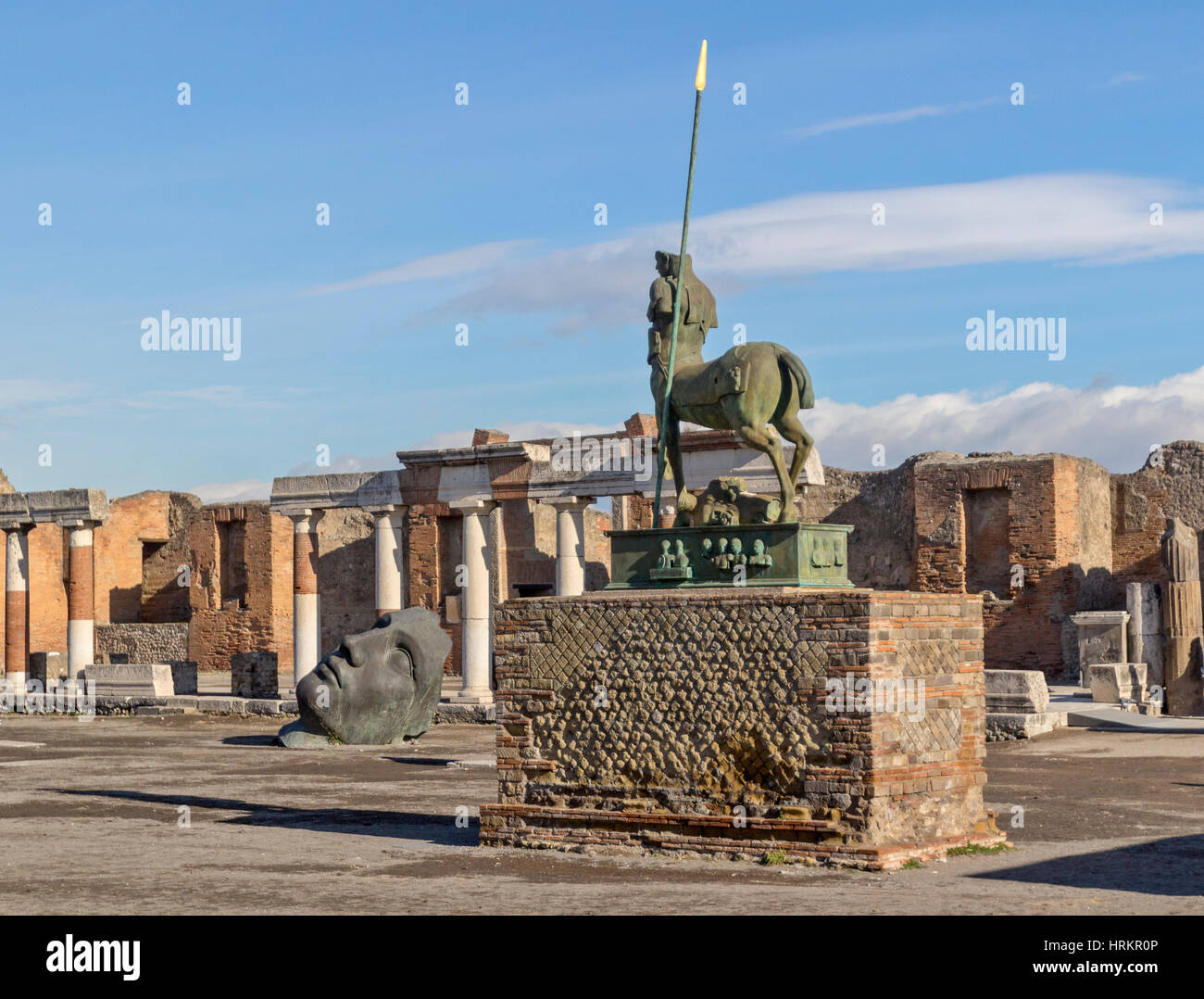 A view ancient ruins in city of Pompeii, Italy. - Stock Image