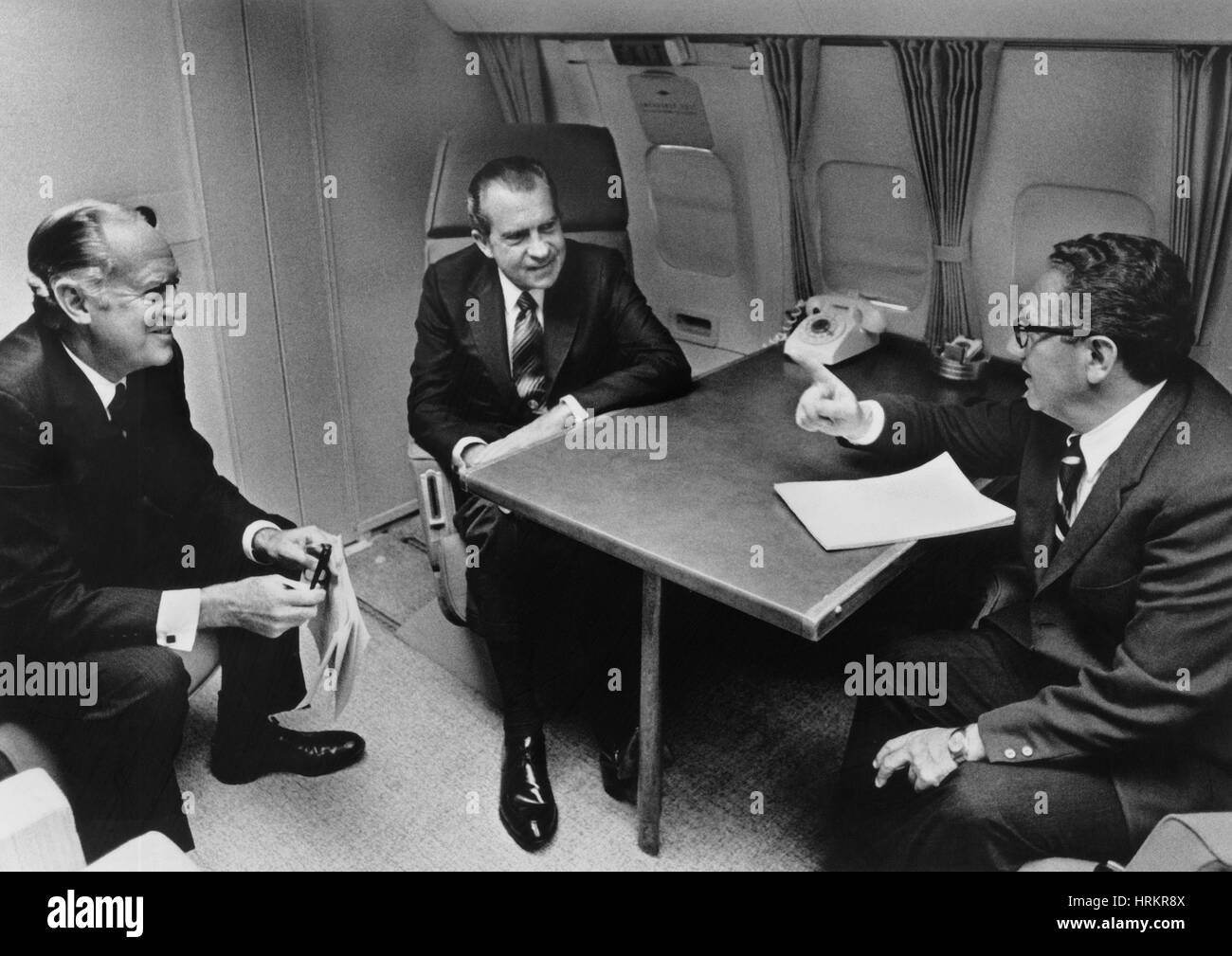 In Flight Discussion, President Nixon & Advisors - Stock Image