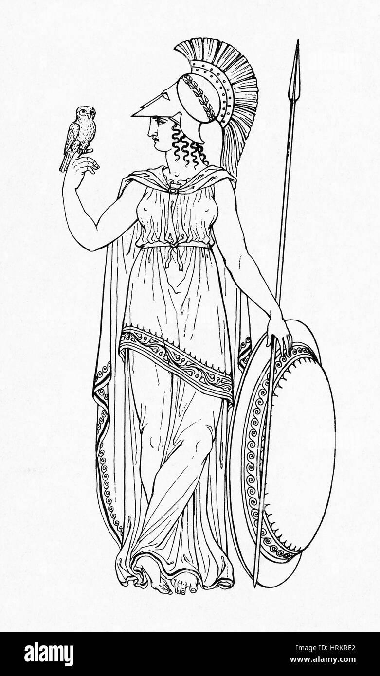 Minerva, Roman Goddess of Medicine - Stock Image