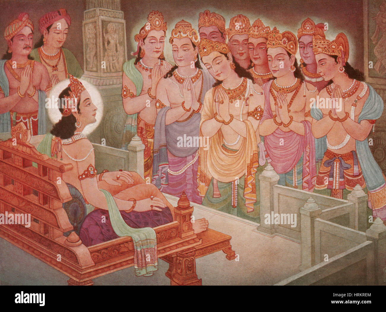 Gods Entertaining Mahavira - Stock Image