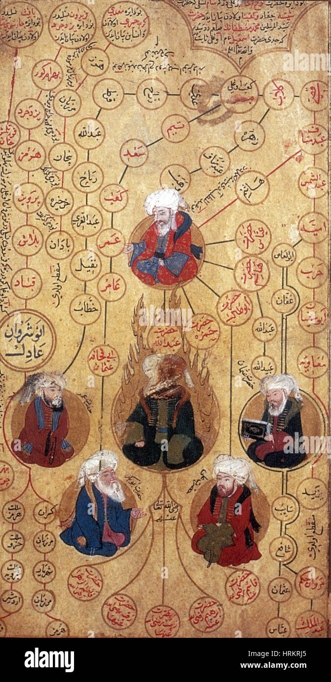 Muhammad and the Four Rightly Guided Caliphs, 16th century - Stock Image