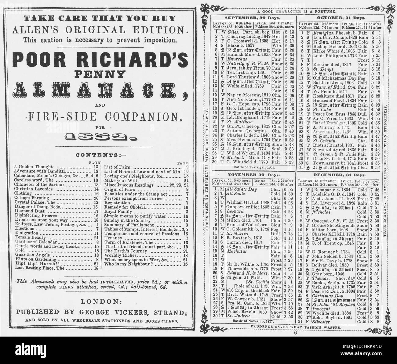 Poor Richard's Penny Almanack, 1852 - Stock Image