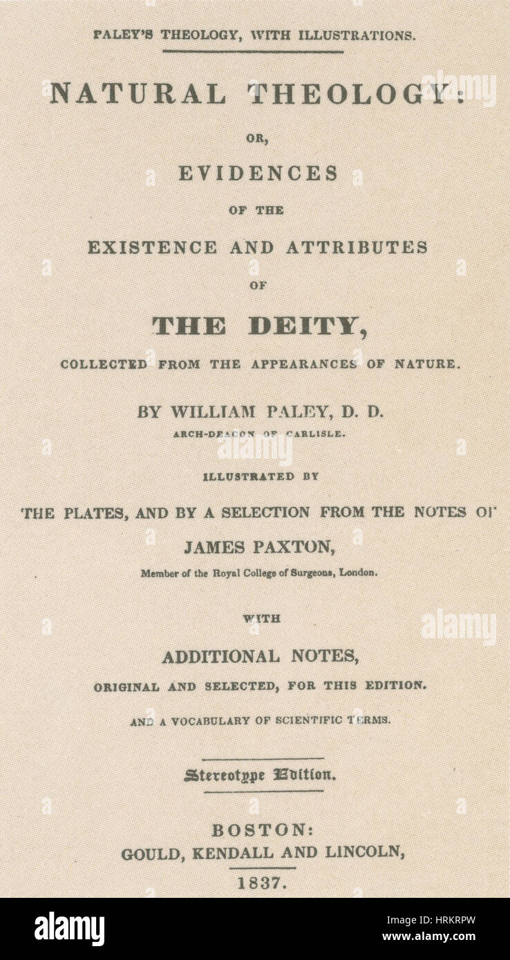 William Paley's 'Natural Theology' - Stock Image