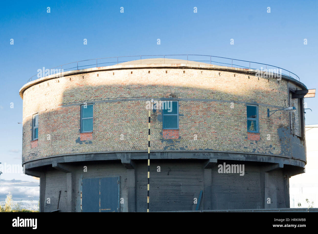The building is round. The building is in the form of a mushroom. - Stock Image