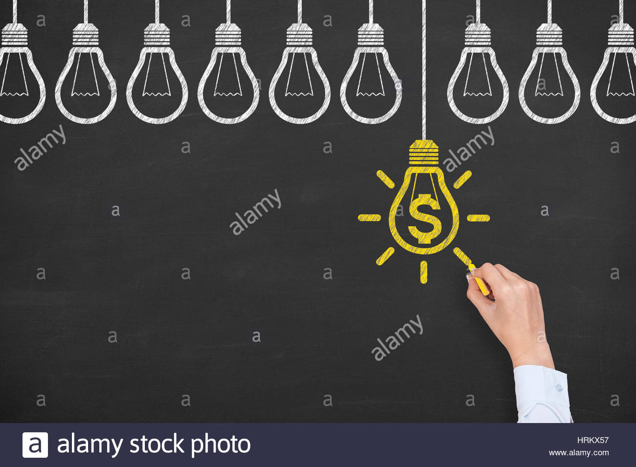 Finance Idea Concepts Drawing on Blackboard Background - Stock Image