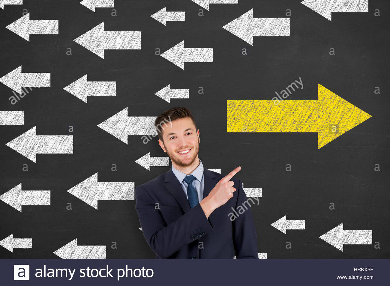 Arrows Going Your Own Way on Blackboard - Stock Image