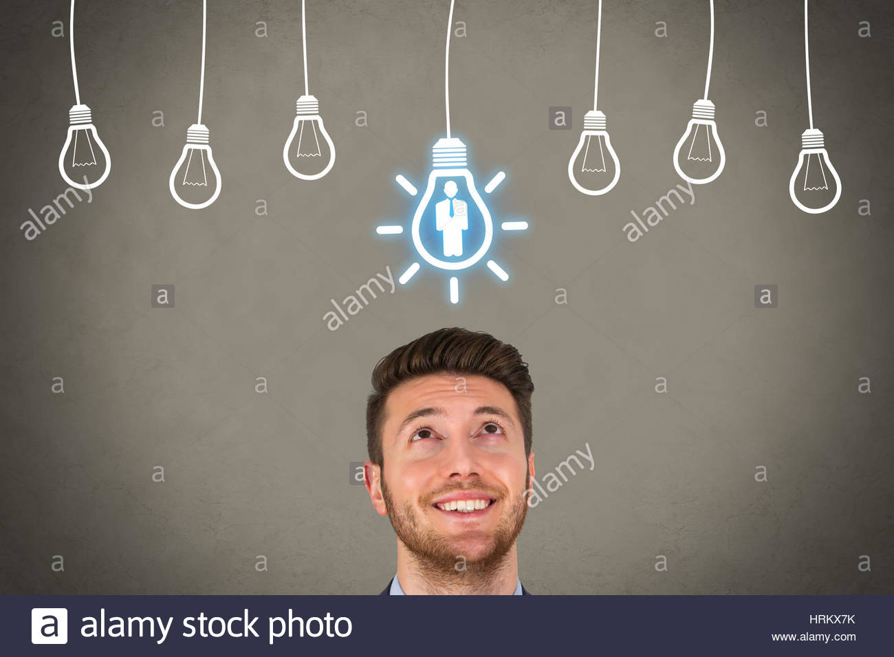 Recruitment and Idea over Human Head - Stock Image