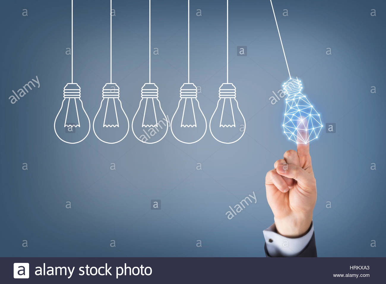 Human Hand Touching Innovation Concepts on Visual Screen - Stock Image