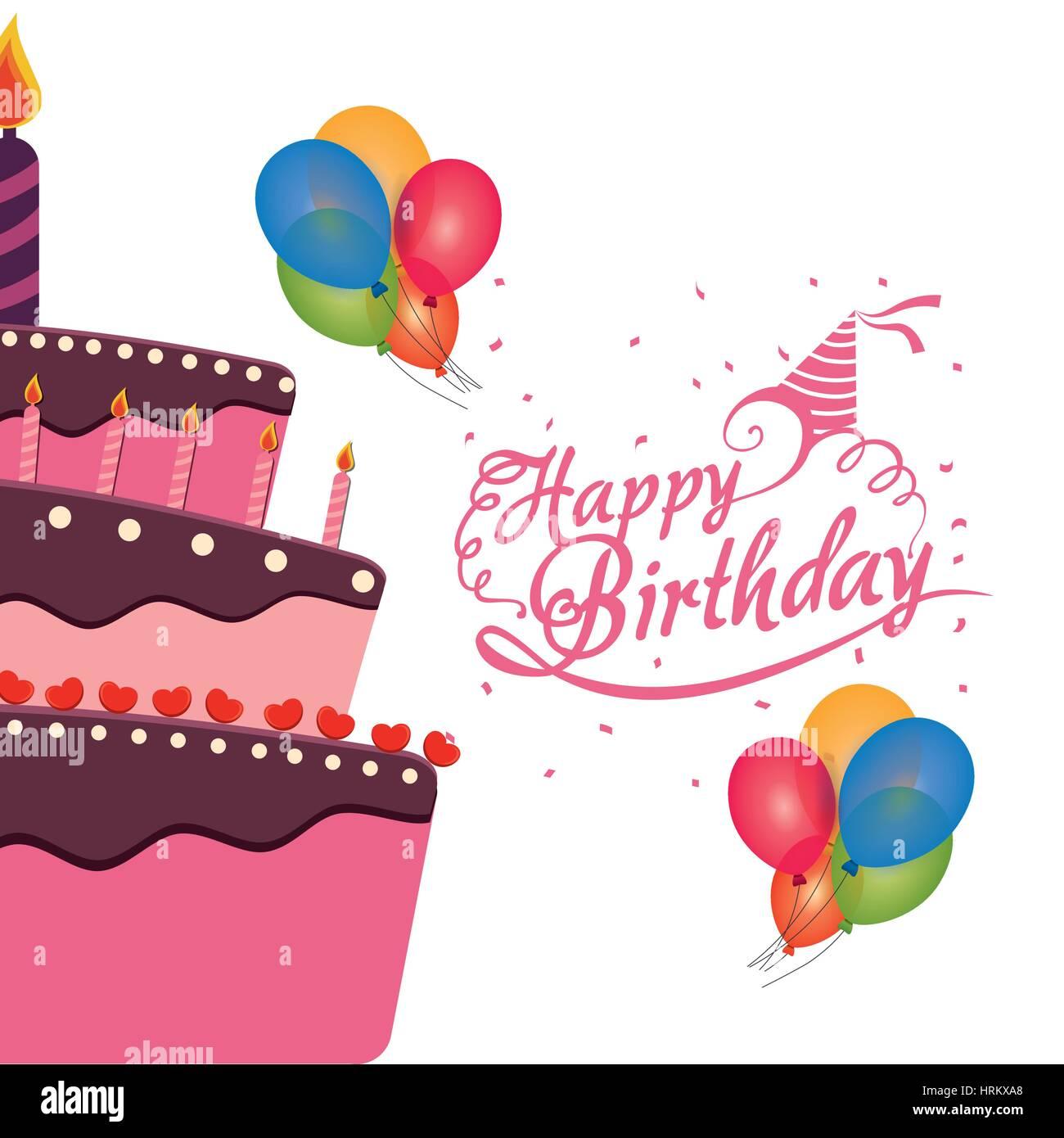Peachy Happy Birthday Cake Balloons Confetti Celebration Stock Vector Art Personalised Birthday Cards Veneteletsinfo