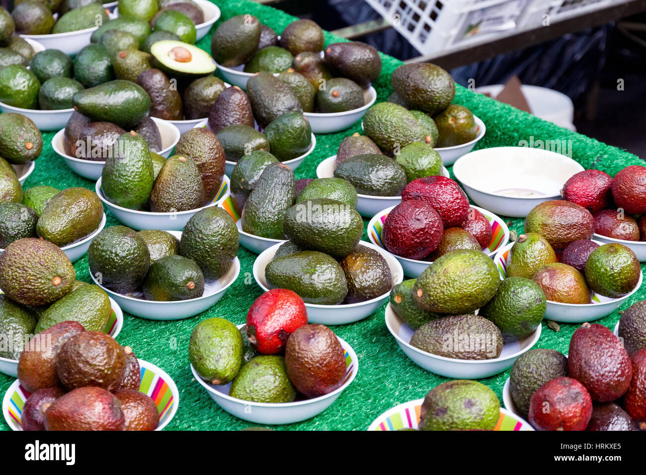 Avocado on display at Borough Market in London - Stock Image