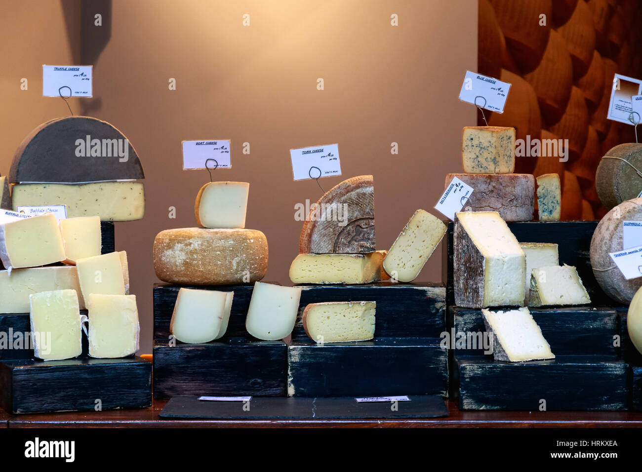 Variety of cheese on display at Borough Market in London - Stock Image